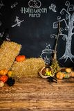 Black background with text and pictures for the celebration of Halloween.  stock image