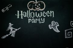 Black background with text and pictures for the celebration of Halloween.  stock photography