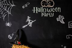 Black background with text and pictures for the celebration of Halloween.  royalty free stock photos