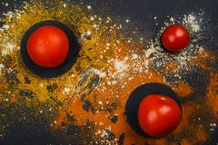 On a black background, tomatoes around which spices. Royalty Free Stock Photos