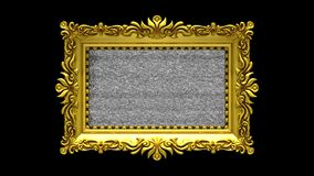 Black background. Tv noise and green chroma key plays on the screen in ornate gold picture frame. 3D animated intro. Tv noise on the screen in gold picture stock footage