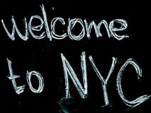 Black Background With Welcome to Nyc Text Overlay Royalty Free Stock Image