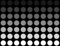 White grey circle with color transition. Black background and white grey circles with color transition stock illustration