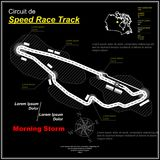 Sportcar speed circuit black. Black background with white speed race track silhouette and sample text Royalty Free Stock Images