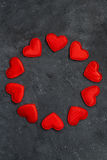 Black Background With A Round Frame Of Red Hearts, Vertical Royalty Free Stock Photo