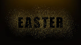 Black background with the words Easter.Gold glitter particles.Gold glitter texture.eps10