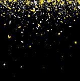 Festive background with paper confetti. Black background with yellow and white paper confetti. Vector illustration Royalty Free Stock Photo