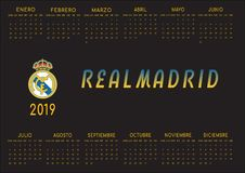 Black backgrounded 2019 Real Madrid calendar royalty free stock image