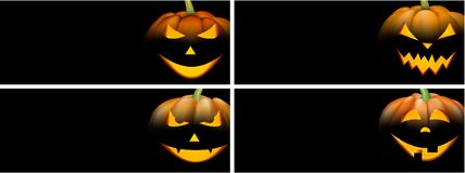 Black backgrounds with orange halloween pumpkin. Black backgrounds set with orange luminous halloween pumpkin. Vector illustration Royalty Free Stock Images