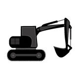 Black backhoe loader icon Stock Images