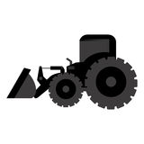 Black backhoe loader icon Stock Image