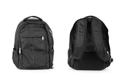 Black backpack isolated over white background with clipping path royalty free stock image