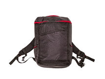 Black backpack standing on white isolate background. Stock Photography