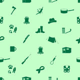 Black backwoodsman icons seamless green pattern Stock Photography