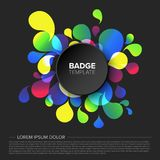 Black badge / tag template. Black creative badge / tag template with sample content and fresh background - dark version stock illustration