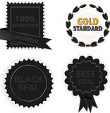 Black badges and seals Royalty Free Stock Images