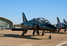 Black BAe Hawk jet on the flight lane Stock Photo