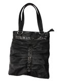 Black bag. Black leather bag is isolated on the white Stock Photo