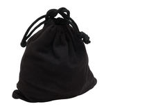Black bag. The bag from black cloth is fastened by a string. On a white background Stock Photography