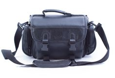 Black bag. Black camera bag on white background Royalty Free Stock Photos