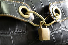 Black bag. A black bag with a lock in center Royalty Free Stock Photos