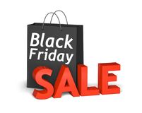 Black bag Black Friday and 3d red text sale. Black bag with the white words Black Friday and 3d red text sale . 3D render illustration Stock Image