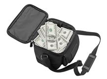Black bag full of money. Royalty Free Stock Image