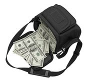 Black bag full of money. Stock Photo