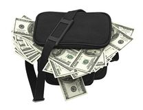 Black bag full of money. Stock Images