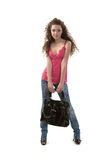 Black bag and the girl Royalty Free Stock Images