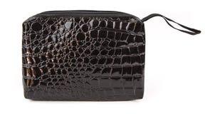 Black bag. Black leatherette pencil case on white background Royalty Free Stock Images
