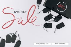 Black bag and price tags. Top view of black bag and price tags isolated on white vector illustration
