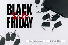 Black bag and price tags. Top view of black bag and price tags isolated on white royalty free illustration