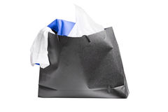 Black bag with purchases Stock Images