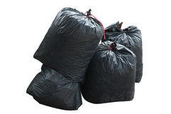 Black bag of rubbish isolated on white background Royalty Free Stock Photo