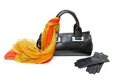 Black bag, scarf and gloves Stock Photography
