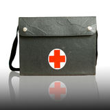 Black bag. And wearing medical supplies for first aid, white reflective background Stock Image