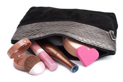 Black Bag With Cosmetics Isolated Royalty Free Stock Photography