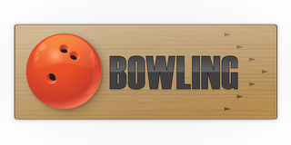 Black ball on the alley for bowling game. Vector illustration Stock Image