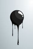 Black ball melting. Vector fresh painted sphere. Stock Photography