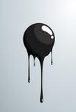 Black ball melting. Vector fresh painted sphere. Stock Photography