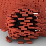 Black ball moving through brick wall. 3d illustration Royalty Free Stock Photography