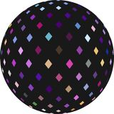 Black ball with pink lilac blue mosaic decoration. 3d sphere on white background isolated. stock illustration