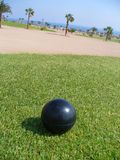 Exotic golf course. Black ball on tee place on golf course Stock Photo