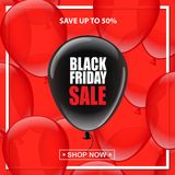 Black balloon with Black Friday Sale text on red balloons background. Vector illustration. Black balloon with Black Friday Sale text on red balloons background Stock Images