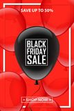 Black balloon with Black Friday Sale text on red balloons background.. Vector vertical Black Friday template. Black balloon with Black Friday Sale text on red Royalty Free Stock Image