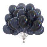 Black balloons bunch party decoration glossy. Balloons black carnival party decoration glossy. Happy birthday balloon bunch dark festive. Holiday anniversary Royalty Free Stock Photography