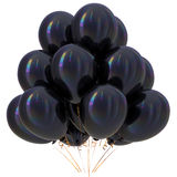 Black balloons happy birthday party decoration dark glossy Royalty Free Stock Photography