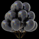 Black balloons happy birthday party decoration dark glossy Royalty Free Stock Photo