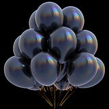 Black balloons happy birthday party decoration dark glossy Stock Images